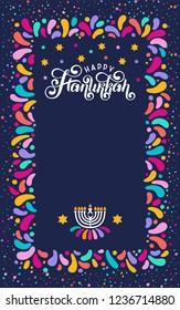 Vector lettering hand written text Hanukkah, candle isolated. Jewish Festival of Lights celebration, festive frame, border, menorah symbol, David Star. Happy Hanukkah holiday greeting card template
