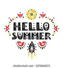 "Vector lettering ""Hello Summer"". Decorative letters in African style."