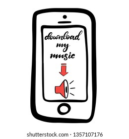 Vector lettering icon. Template with elements for social media web, mobile apps sticker. Blogging content. Download my music button with red arrow on the screen of smartphone. EPS10