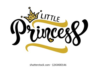 Vector lettering illustration. Baby girl shower card. Newborn baby girl background. Illustration with lettering, crown, princess, heart and florishes. Little princess poster design.