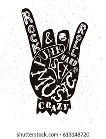 Vector lettering illustration - rock and roll sign. Punk, Music, Crazy, Sex, Hard, and Anarchy symbol. Hand drawn hipster creative typography poster, t-shirt, card.