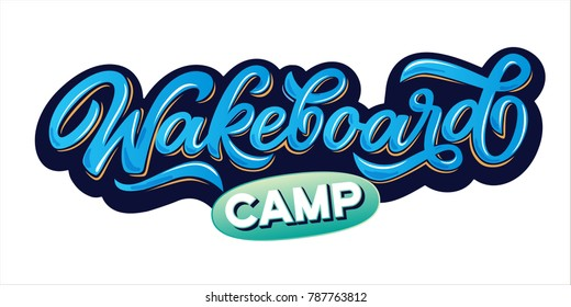 Vector lettering logo wakeboard club in graffity style for your unique design, printing on T-shirts or the Internet