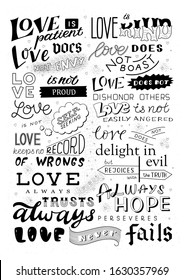 Vector lettering with a quote from the Bible, 1 Corinthians 13 chapter about love. Lettering is made in different styles. Can be used as a card, poster, decoration or other design.