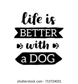 Vector lettering with saying about dog adoption. Don't shop, adopt. Modern calligraphy phrases on isolated background.