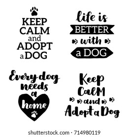 Vector lettering set with saying about dog adoption. Don't shop, adopt. Modern calligraphy phrases on isolated background.