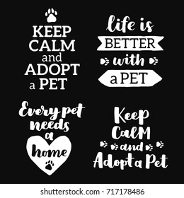 Vector lettering set with saying about pet adoption. Don't shop, adopt. Modern calligraphy phrases on isolated background.
