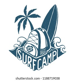 Vector lettering surf camp logo template with surfing board, backpack, palm trees ans waves