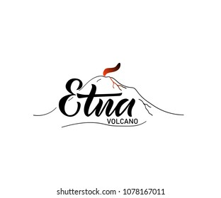 Vector lettering of word Etna. Modern calligraphy. As template of logotype, label, icon, tag, banner, greeting card. Inscription for journal, flyer, bisness card.