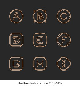 Vector letters A, B, C, D, E, F, G, H, I logo design template set. Alphabet label sign for branding and identity. Linear lettering emblem in ornamental frame. Type character illustration with line art