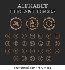 Vector letters A-Z logo design template set. ABC Alphabet label sign for branding and identity. Linear lettering font emblem with ornament frame. Type character symbol illustration with line art
