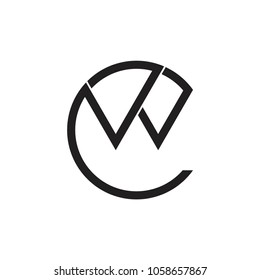 vector of letters cw thin lines logo