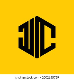 vector letters J and C beautiful and strong hexagon pattern