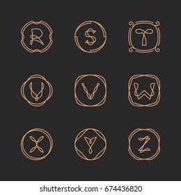 Vector letters R, S, T, U, V, W, X, Y, Z logo design template set. Alphabet label sign for branding and identity. Linear lettering emblem in ornamental frame. Type character illustration with line art