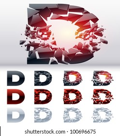 A vector letters set of a collapsing alphabet. 4 states. Symbol D