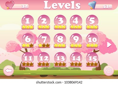 Vector level selection game user interface with heart and jem icons, settings, stars and buttons. Perfect for games devoted to flowers, Spring or Summer
