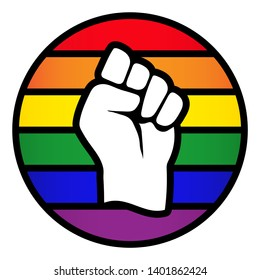 Vector LGBT+ rainbow flag circle with power raised up fist symbol - for gay, lesbian, bisexual, transgender, asexual, intersexual and queer relationship, love or sexuality rights. Isolated on white.
