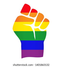 Vector LGBT+ rainbow flag on power raised up fist symbol - for gay, lesbian, bisexual, transgender, asexual, intersexual and queer relationship, love or sexuality rights. Isolated on white background.