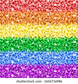 Vector LGBT sparkle glitter seamless pattern. Gay pride flag background. Colorful rainbow texture