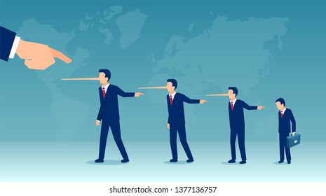 Vector of liar business people laying blame at someone. Concept of slander and irresponsibility