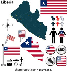 Vector of Liberia set with detailed country shape with region borders, flags and icons