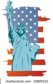 Vector liberty statue with american flag