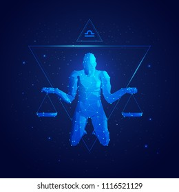 vector of libra horoscope sign in twelve zodiac with galaxy stars background, graphic of polygon man