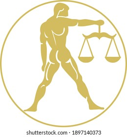 Vector Libra Horoscope Symbol with Person and a Scales