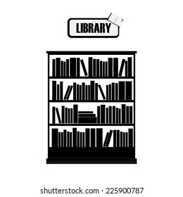 Vector of library book shelf black and white