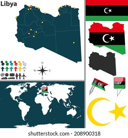 Vector of Libya set with detailed country shape with region borders, flags and icons