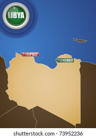 Vector - Libya War Map with Cities Tripoli and Benghazi