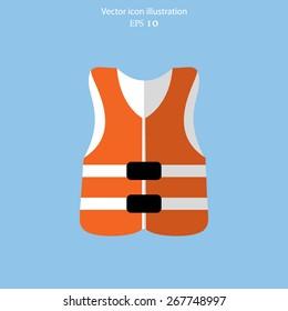 Vector life jacket flat icon illustration.