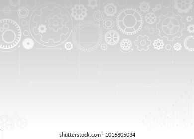 Vector light abstract technology background. White background with gray gear wheels. Various cogwheels