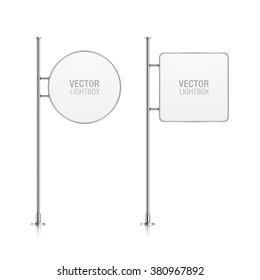 Vector light box with chrome stand. Set of light box templates.