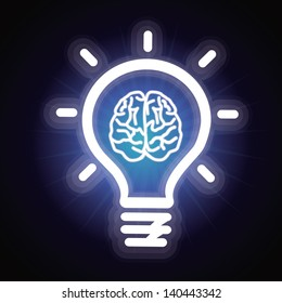 Vector light bulb and brain icon - creativity concept