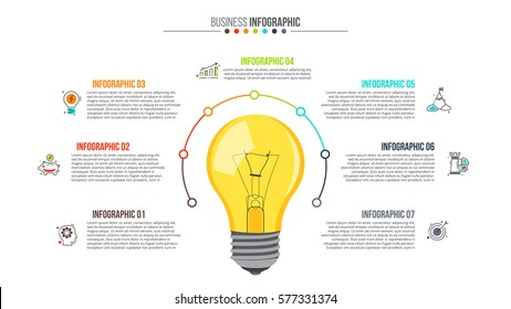 Vector light bulb with circle elements for infographic. Template for cycling diagram, graph, presentation and chart. Business concept with 7 options, parts, steps or processes. Abstract background.