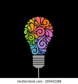 Vector light bulb icon with concept of idea. Color original sign of creativity. Illustration for print, web