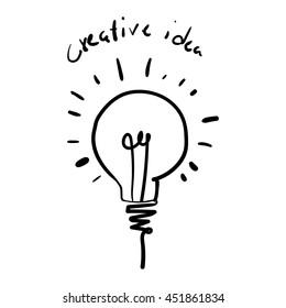 Vector light bulb icon with concept of idea. Creative idea vector illustration.