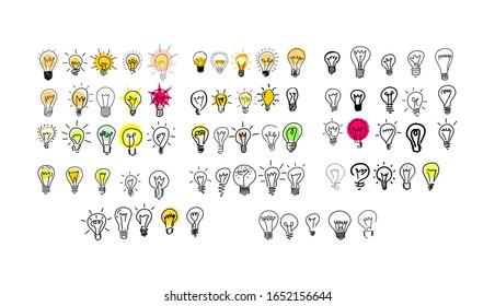 Vektorillustration Glühbirne Symbol mit einem Ideenkonzept. Doodle handgezeichnet Schild. Eine große Menge von 70 Stück.