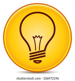 Vector Light Bulb Icon Matte Button. EPS10.