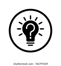 Vector of Light Bulb Icon with Question sign in Circle line, iconic symbol inside a circle, on white background. Vector Iconic Design.