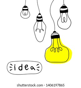 Vector light bulb icons with concept of idea. Doodle style. Vector illustration.
