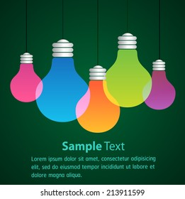 Vector light bulb icons with concept of idea. Color original sign of co-creativity. Illustration for print, web