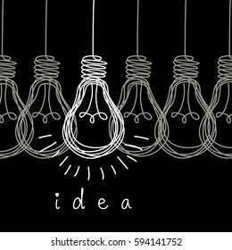 Vector light bulb icons with concept of idea. Original scribble sign of co-creativity. Doodle hand drawn design template. Black and white original illustration for print, web