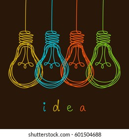 Vector light bulb icons with concept of idea. Color original sign of co-creativity. Doodle hand drawn sign. Sketch design template. Illustration for print, web