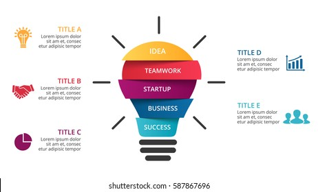 Vector light bulb infographic. Template for circle diagram, graph, presentation and round chart. Business startup idea lamp infographics concept with 5 options, parts, steps, processes. Brainstorming.