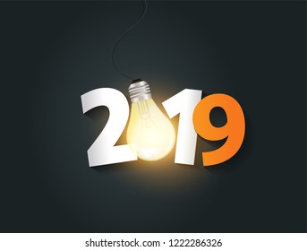 Vector light bulb and number 2019 new year creative design