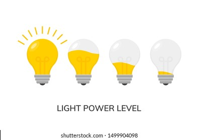 Vector light bulb power level icon isolated. Light lamp symbol electric concept.