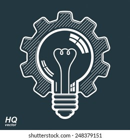 Vector light bulb shape, high quality cog wheel. Technical solution symbol, manufacturing and business idea icon, retro graphic gear. Industry innovation design element.