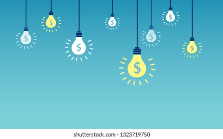 Vector of light bulbs with dollar symbols on a blue background. Successful financial ideas and innovation concept.