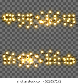 Vector light bulbs, realistic retro garland, background with yellow glowing lights on transparent background.